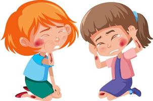 Young girls injured at cheek and arm cartoon character on white background vector