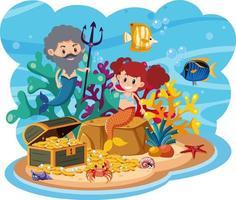 Mermaid in underwater world vector