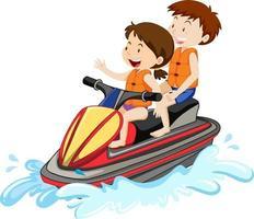 Los niños conduciendo una moto de agua aislado sobre fondo blanco. vector