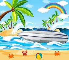 escena de playa con una lancha rápida. vector