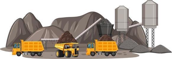 Escena de minería de carbón con camiones de construcción. vector