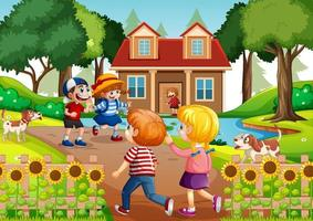 Outdoor scene with many children visiting their friends vector