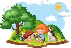 niños felices jugando con perros vector