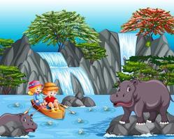 Los niños remar en el bote en la escena de la cascada. vector