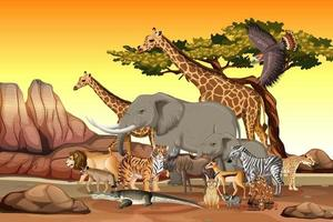 Group of Wild African Animal in the forest scene vector