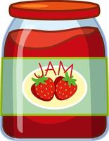 Strawberry jam on white background