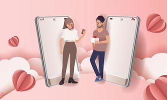 Couple in mobile phone sends gift pink background for Valentine's day festival. Vector illustration in paper art style.