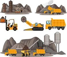 Coal mining scene with different types of construction trucks vector