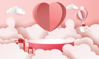 3d paper art podium in clouds for valentine's with hearts and gifts