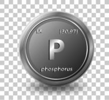 elemento químico fósforo. símbolo químico con número atómico y masa atómica. vector