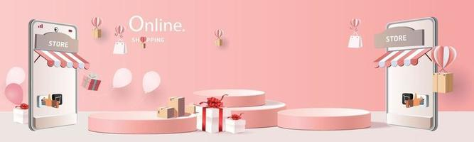 shopping online on phone with podium paper art modern pink background with gift boxes illustration vector. vector
