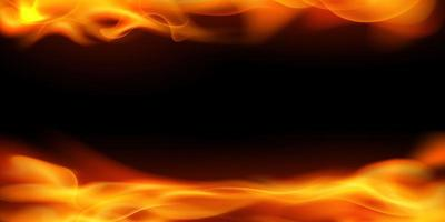 Effect burning red hot sparks realistic fire flames abstract background vector
