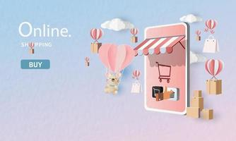 servicio de entrega en línea oficina en casa, arte de papel de dibujos animados de almacén en el móvil. ilustración vectorial. concepto de compras en línea. vector