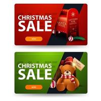 Red and green Christmas discount banners with buttons, Santa letterbox and present with Teddy bear vector