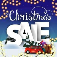 Christmas sale, square discount banner with cartoon winter landscape, large volumetric letters and red vintage car carrying Christmas tree