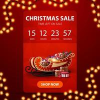 Christmas sale, red vertical banner with countdown timer, polygonal texture and Santa Sleigh with presents vector