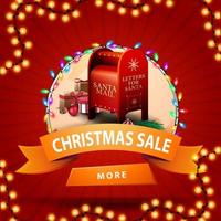 Christmas sale, round discount banner with orange ribbon, button, garland and Santa letterbox with presents vector