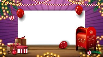 Christmas template for your creativity with white blank paper sheet, balloons, garlands, presents and Santa letterbox vector