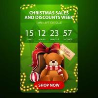 Christmas sales and discount week, green vertical banner with countdown timer, polygonal texture and present with Teddy bear vector