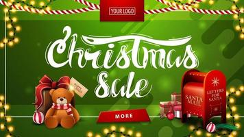 Christmas sale, green discount banner with garlands, button, place for logo, Santa letterbox and present with Teddy bear vector