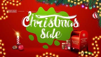 Christmas sale, modern red discount banner with beautiful lettering, garlands, green blot, Christmas tree branches, candle and Santa letterbox with presents vector