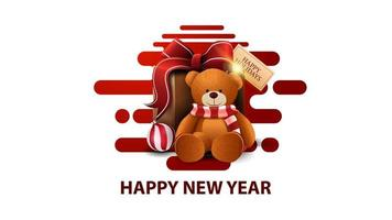 Happy New Year, white modern postcard with red abstract liquid shapes and present with Teddy bear