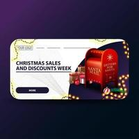 Christmas sales and discount week, white modern Christmas discount banners with rounded corners, garland and Santa letterbox with presents vector