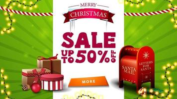 Christmas sale, up to 50 off, green and white discount banner with greeting symbol, garlands, button, Santa letterbox and presents vector