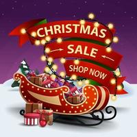 Christmas sale, shop now, discount banner with red ribbon wrapped in garland and Santa Sleigh with presents vector