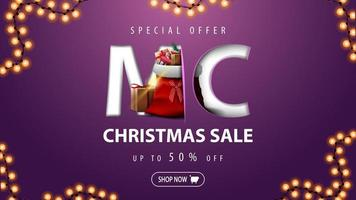 Christmas sale, up to 50 off, beautiful discount banner in minimalism style with garland and Santa Claus bag with presents