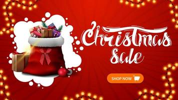Christmas sale, red discount banner with abstract white cloud, garland, button and Santa Claus bag with presents