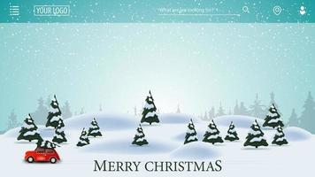 Christmas background for website. Cartoon winter landscape with red vintage car carrying Christmas tree vector