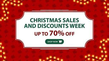 Christmas sales and discount week, up to 70 off, red banner with white vintage frame and pattern with Santa Claus sleigh and reindeer vector