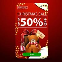 Christmas sale, up to 50 off, vertical red banner with rounded corners, garland, button and present with Teddy bear vector