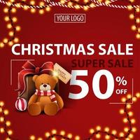 Christmas super sale, up to 50 off, red modern discount banner with garland, place for your logo and present with Teddy bear