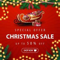 Special offer, Christmas sale, up to 50 off, square red discount banner with Christmas tree garland, bulb garland and Santa Sleigh with presents vector