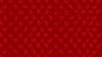 Navidad rojo de patrones sin fisuras con guantes, caja presente, campanas y botas de elfos. vector