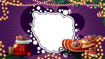 Purple Christmas template for postcard or discount with garlands, white abstract cloud for your text, Santa Claus bag and Santa Sleigh with presents