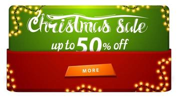 Christmas sale, up to 50 off, red and green discount banner with garland and button. vector