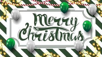 feliz navidad, postal con textura de rayas verdes y blancas en el fondo, guirnaldas y globos vector