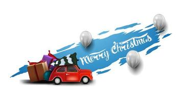 Merry Christmas, modern postcard with white balloons and red vintage car carrying Christmas tree. Blue torn banner isolated on white background. vector