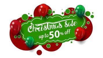 Christmas sale, up to 50 off, creative banner in graffiti style with red and green balloons