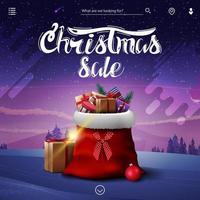 Venta de Navidad, banner de descuento cuadrado con bolsa de santa claus con regalos y paisaje invernal en el fondo vector