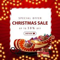 Special offer, Christmas sale, up to 50 off, red square discount banner with Christmas garland, white paper sheet and Santa Sleigh with presents vector