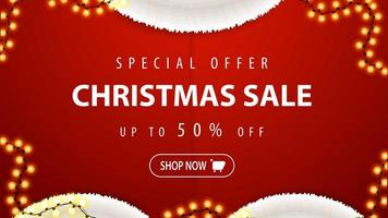 Special offer, Christmas sale, up to 50 off, red discount banner in form of Santa Claus costume with garland vector