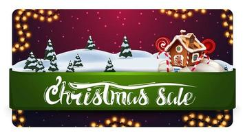 Christmas sale, discount banner with beautiful winter landscape, green horizontal ribbon with offer and Christmas gingerbread house vector