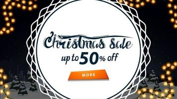 Christmas sale, up to 50 off, discount banner with night winter cartoon landscape and big white circle in the middle vector