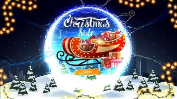Christmas sale, discount banner with winter landscape, starry sky, button, Santa Sleigh with presents and round portal with lightning bolts and offer vector