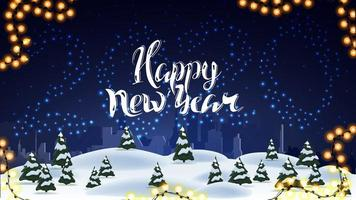 Happy New Year, blue postcard with numbers 2020 of stars in the sky, cartoon winter landscape and beautiful lettering vector