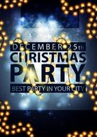 Christmas party, best party in your city, blue poster with blurred background and garland
